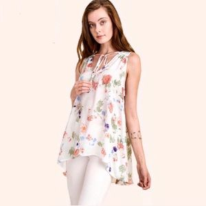 """""""Addy"""" Satin floral print sleeveless top w lace-up"""